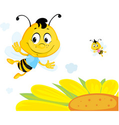 bee flies over yellow flower - cute cartoon vector image