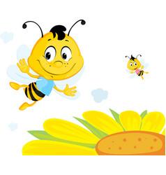 Bee flies over yellow flower - cute cartoon vector
