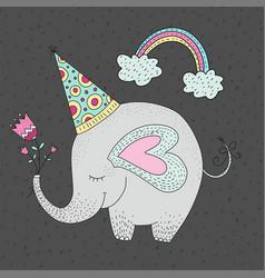 birthday with cartoon cute ele vector image