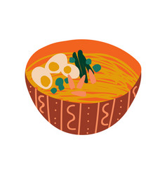 bowl noodles soup with boiled egg traditional vector image
