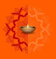 candle light on orange mandalas background vector image