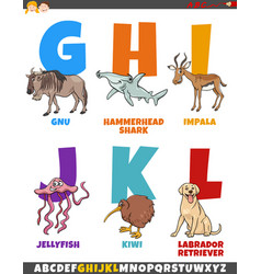 Cartoon alphabet set with animal characters vector