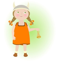 Cartoon girl in viking helmet Taurus Zodiac sign vector image
