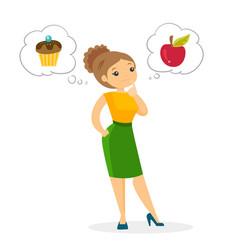 Caucasian woman choosing between apple and cupcake vector
