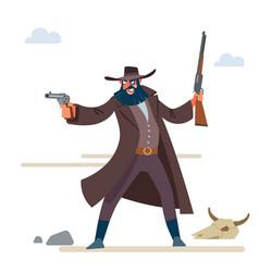 Character is a cruel bandit with a dark beard vector