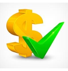 Check mark dollar vector image