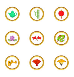 China destination icon set cartoon style vector