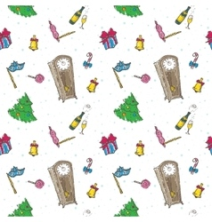 colorful doodle New Year elements seamless vector image