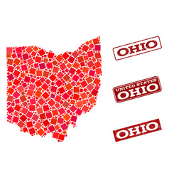 Composition of red mosaic map of ohio state and vector