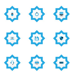 computer icons colored set with start button vector image