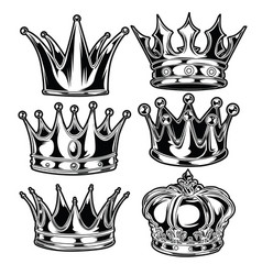 Crown king and queen set black and white king vector