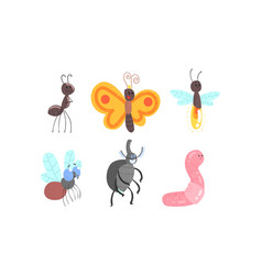 Cute funny insects set ant butterfly firefly vector