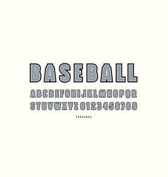 Decorative sans serif font with contour vector