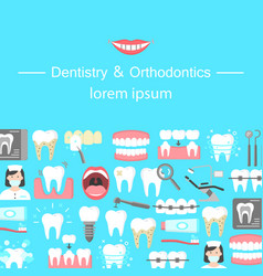 dentistry and orthodontics flat icons banner vector image