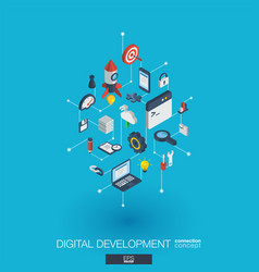 development integrated 3d web icons digital vector image