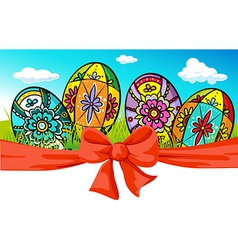 Easter banner with bow and painted egg - vector
