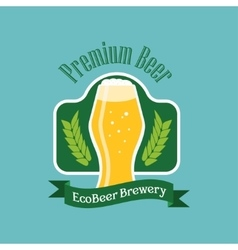 Eco beer logo Flat style emblem isolated vector