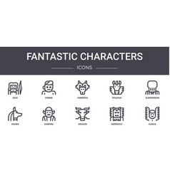 Fantastic characters concept line icons set vector