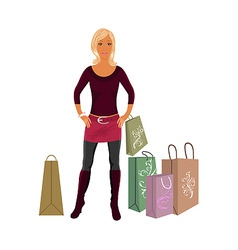 fashion shopping girl with bags vector image