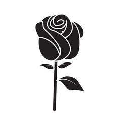 Flat black rose icon vector
