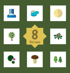 Flat icon natural set of forest berry lotus and vector
