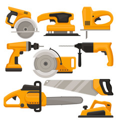 flat set of construction tools different vector image