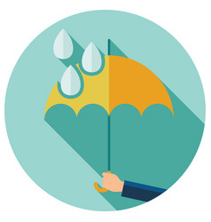 flat symbol of umbrella protection from rain drops vector image