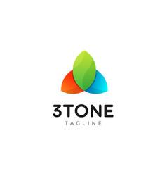 Geometric color leaf shape logo design template vector