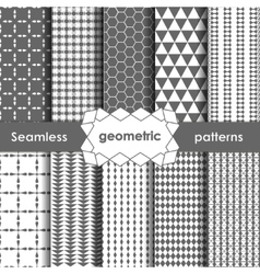 Geometric grey Seamless Patterns Set vector image