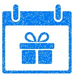 Gift Box Calendar Day Grainy Texture Icon vector
