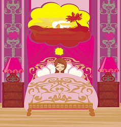 girl dreams of a vacation in the tropics vector image