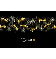 Gold Christmas and New Year stars decoration vector