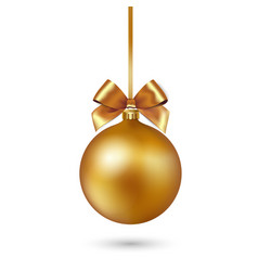 Gold christmas ball with ribbon and bow on white vector