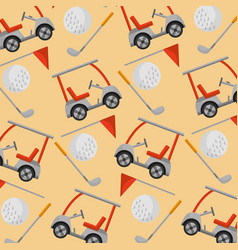 golf club car stick ball flag pattern vector image
