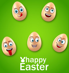 Happy easter card with crazy eggs positive vector