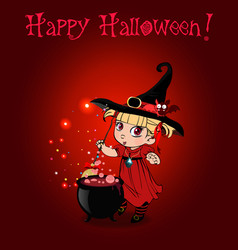 Happy halloween card with baby girl witch with vector