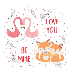 happy valentines day cute flamingos and foxes vector image