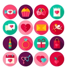 Happy valentines day flat icons vector