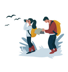 Hiking or backpacking couple walking with map vector