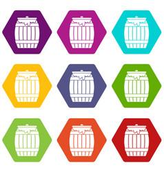 Honey keg icon set color hexahedron vector