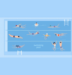 Horizontal with swimmers in swimming vector