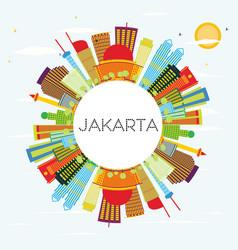Jakarta skyline with color buildings blue sky vector