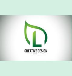 L leaf logo letter design with green leaf outline vector