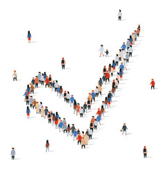 large group people in shape a check mark vector image