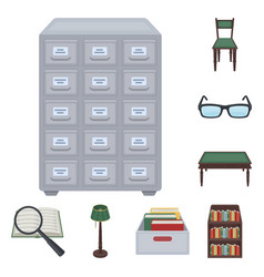 library and bookstore cartoon icons in set vector image