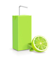 Lime juice package carton box with straw vector