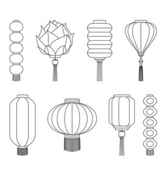Line art black and white chinese lantern set vector