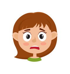 Little girl scared face expression cartoon vector