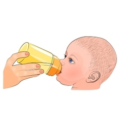 Mother and child the milk in the bottle vector