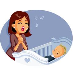 Mother singing a lullafor bato sleep vector